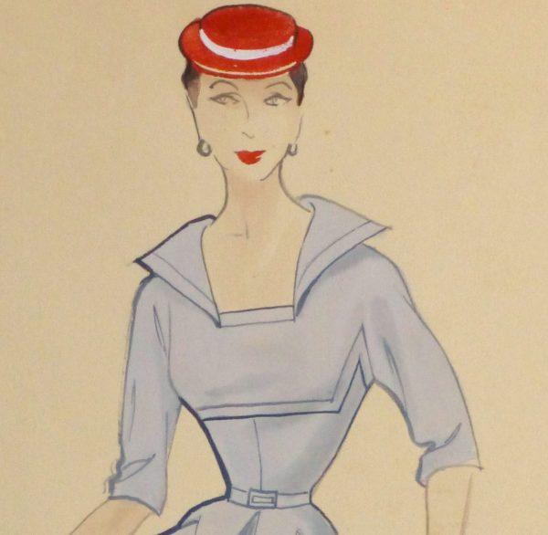 Gouache & Ink Fashion Sketch - Powder Blue Dress, Circa 1955-detail 2-10468M