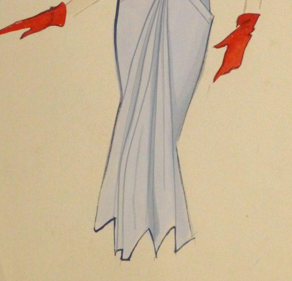 Gouache & Ink Fashion Sketch - Powder Blue Dress, Circa 1955-detail-10468M