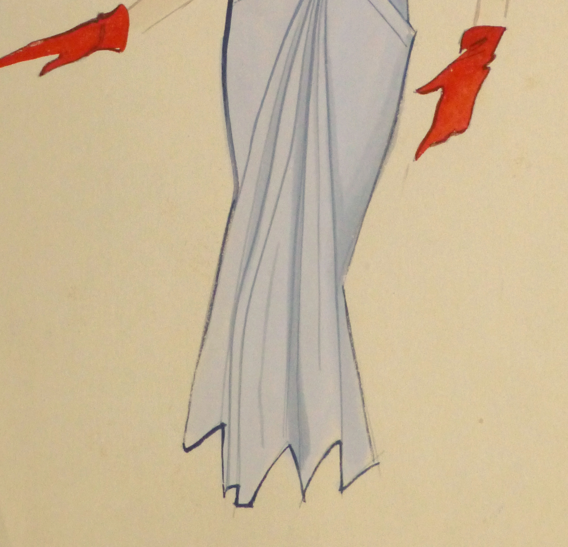 Gouache & Ink Fashion Sketch - Powder Blue Dress, Circa 1955-detail-10468M