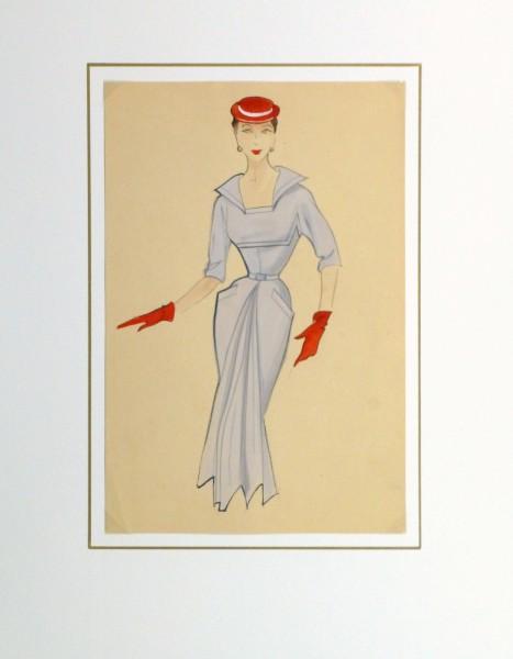 Gouache & Ink Fashion Sketch - Powder Blue Dress, Circa 1955-matted-10468M