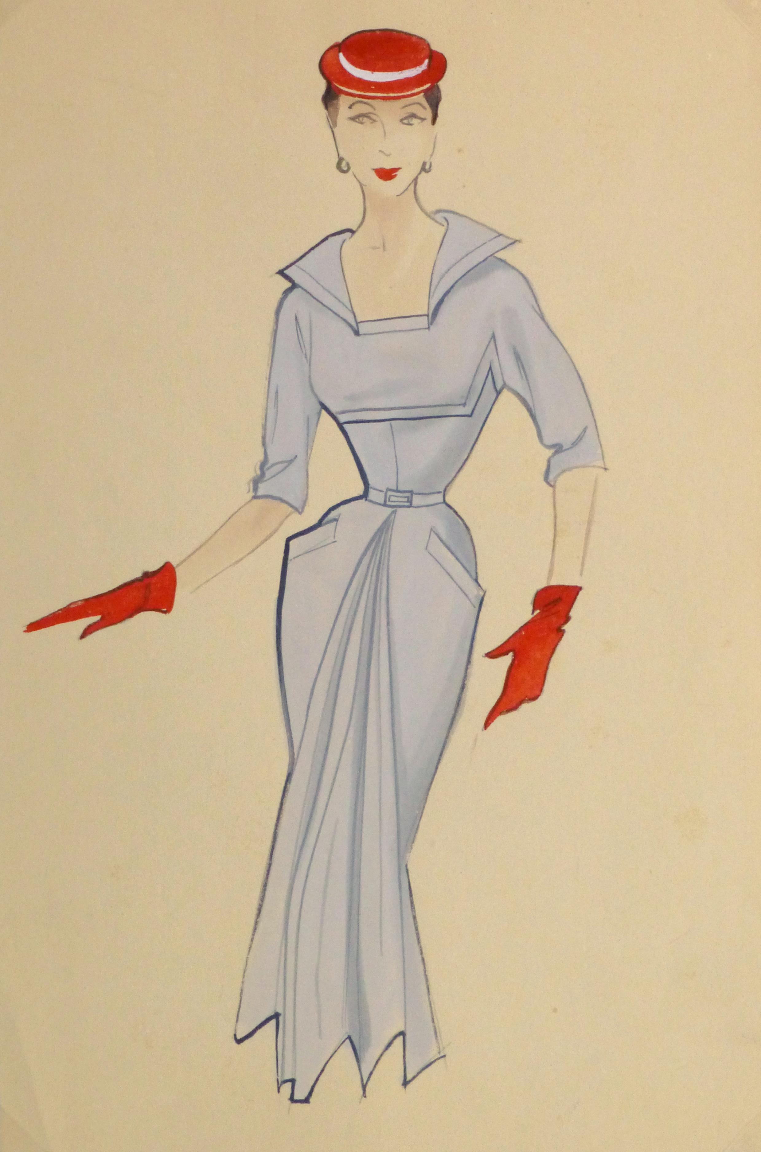 Gouache & Ink Fashion Sketch - Powder Blue Dress, Circa 1955-main-10468M