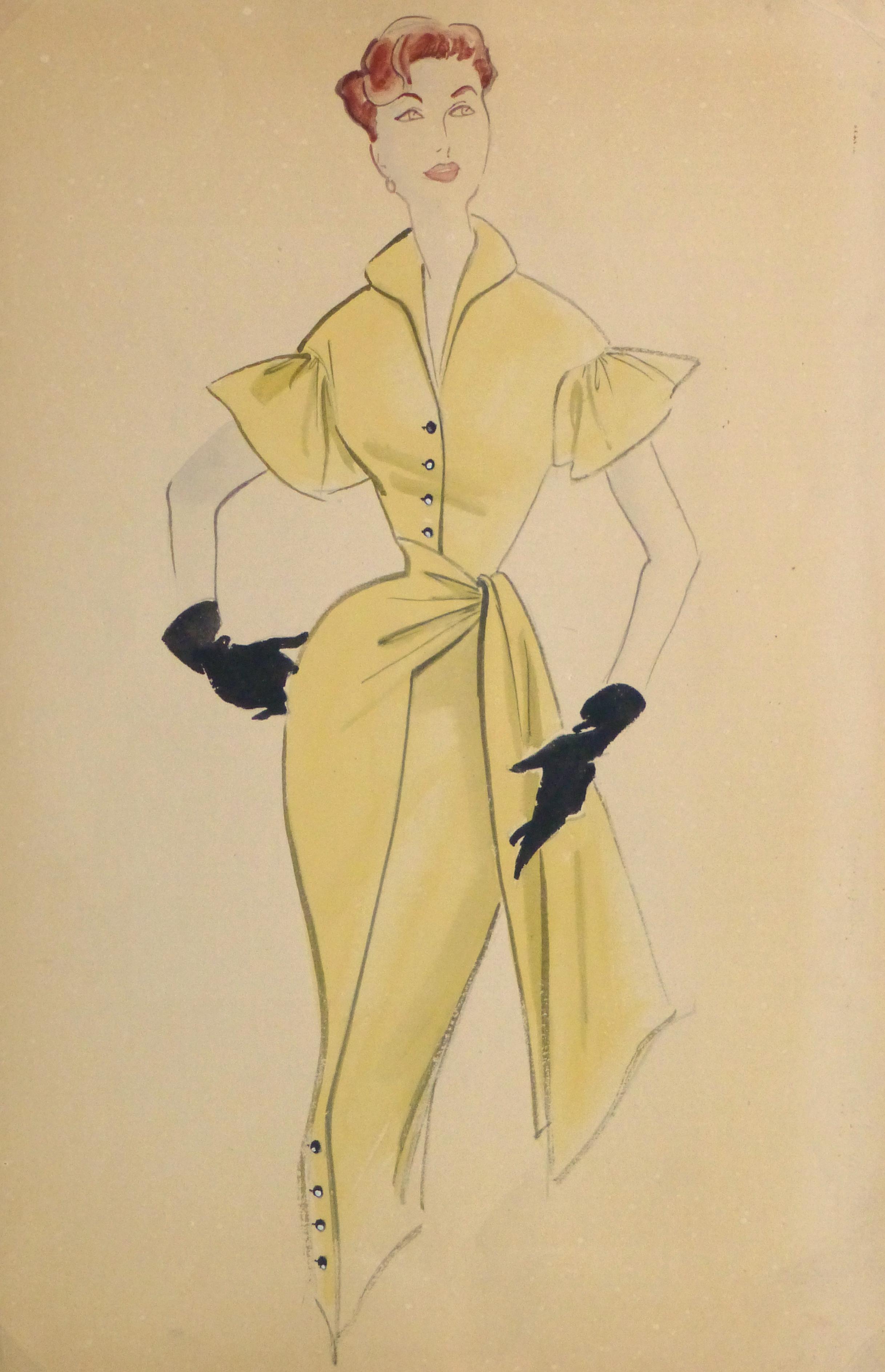 Gouache & Ink Fashion Sketch - Yellow Dress, Circa 1955-main-10469M