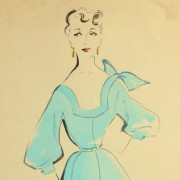 Gouache & Ink Fashion Sketch - Aqua Dress, Circa 1955-detail 2-10470M