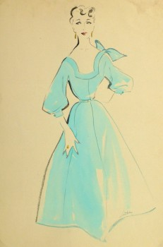 Gouache & Ink Fashion Sketch - Aqua Dress, Circa 1955-main-10470M