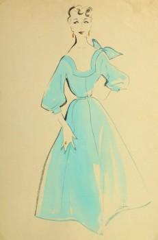Gouache & Ink Fashion Sketch - Aqua Dress, Circa 1955-main-10470M