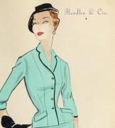 Gouache & Ink Fashion Sketch - Aqua Dress Suit, Circa 1955-detail 2-10471M