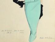 Gouache & Ink Fashion Sketch - Aqua Dress Suit, Circa 1955-detail-10471M