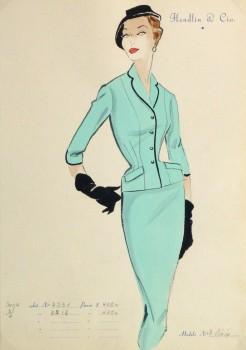 Gouache & Ink Fashion Sketch - Aqua Dress Suit, Circa 1955-main-10471M