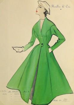 Gouache & Ink Fashion Sketch - Green Dress Coat, Circa 1955-main-10472M