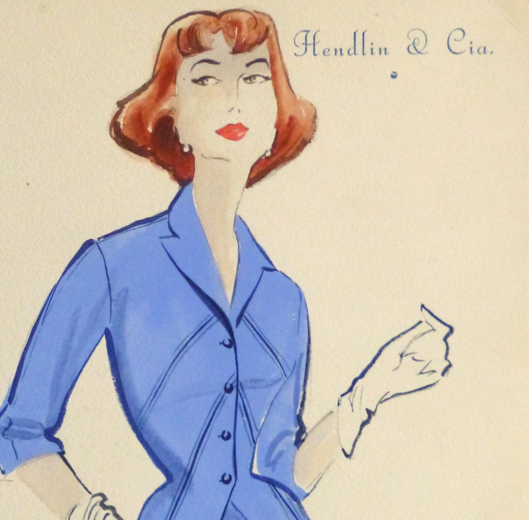 Gouache & Ink Fashion Sketch - Blue Dress Suit, Circa 1955-detail 2-10473M