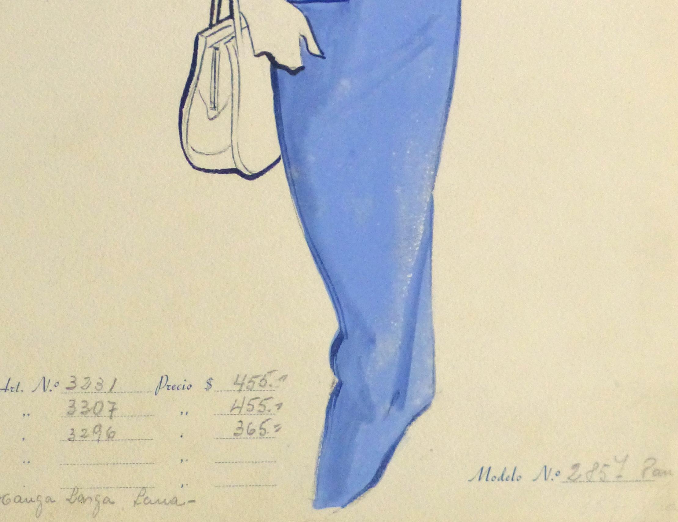 Gouache & Ink Fashion Sketch - Blue Dress Suit, Circa 1955-detail-10473M