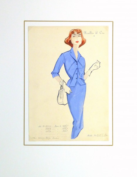 Gouache & Ink Fashion Sketch - Blue Dress Suit, Circa 1955-matted-10473M