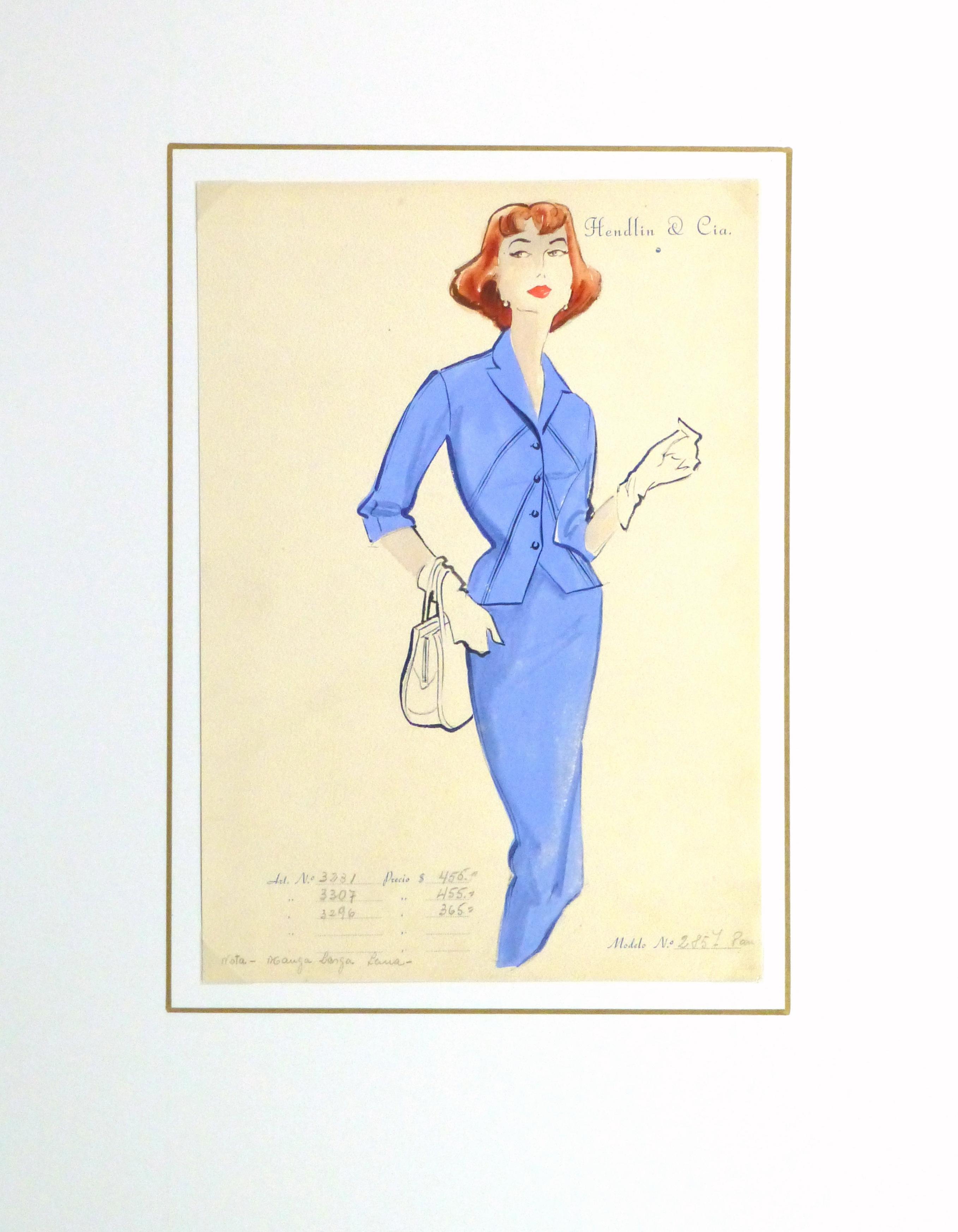 Gouache & Ink Fashion Sketch - Blue Dress Suit, Circa 1955-matted-10473M