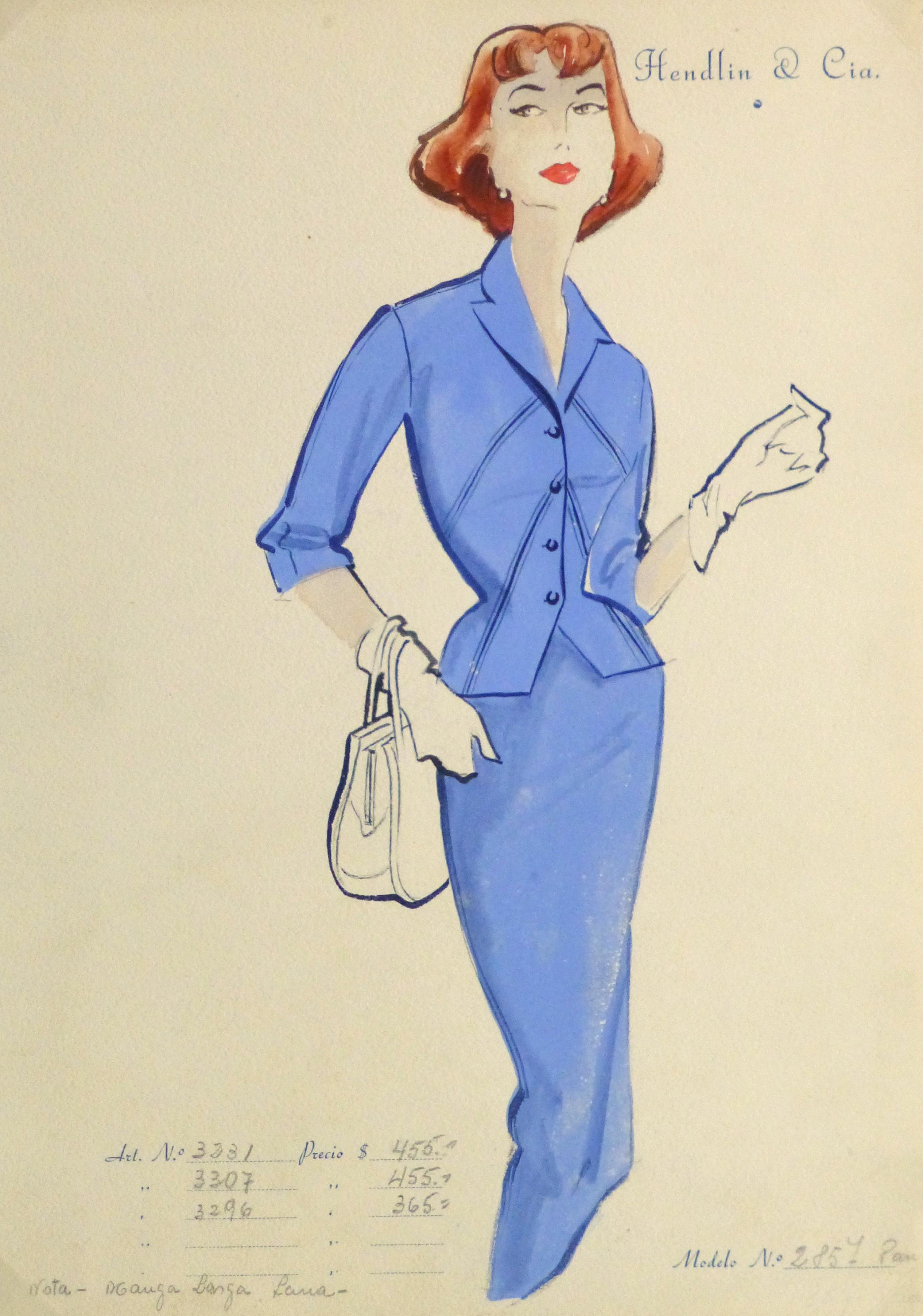 Gouache & Ink Fashion Sketch - Blue Dress Suit, Circa 1955-main-10473M