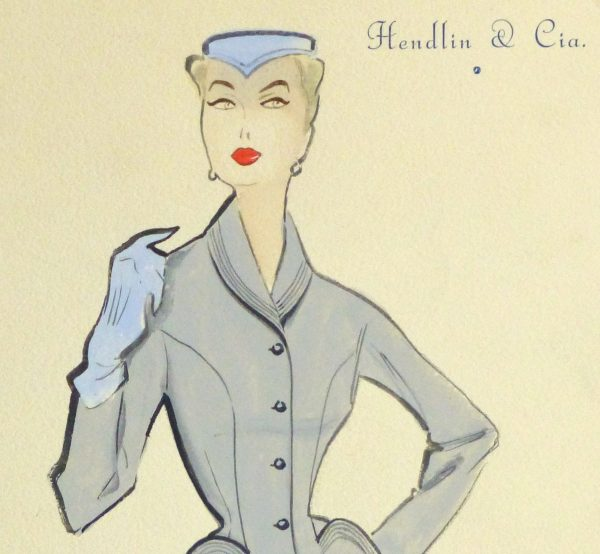 Gouache & Ink Fashion Sketch - Grey Dress Suit, Circa 1955-detail 2-10474M