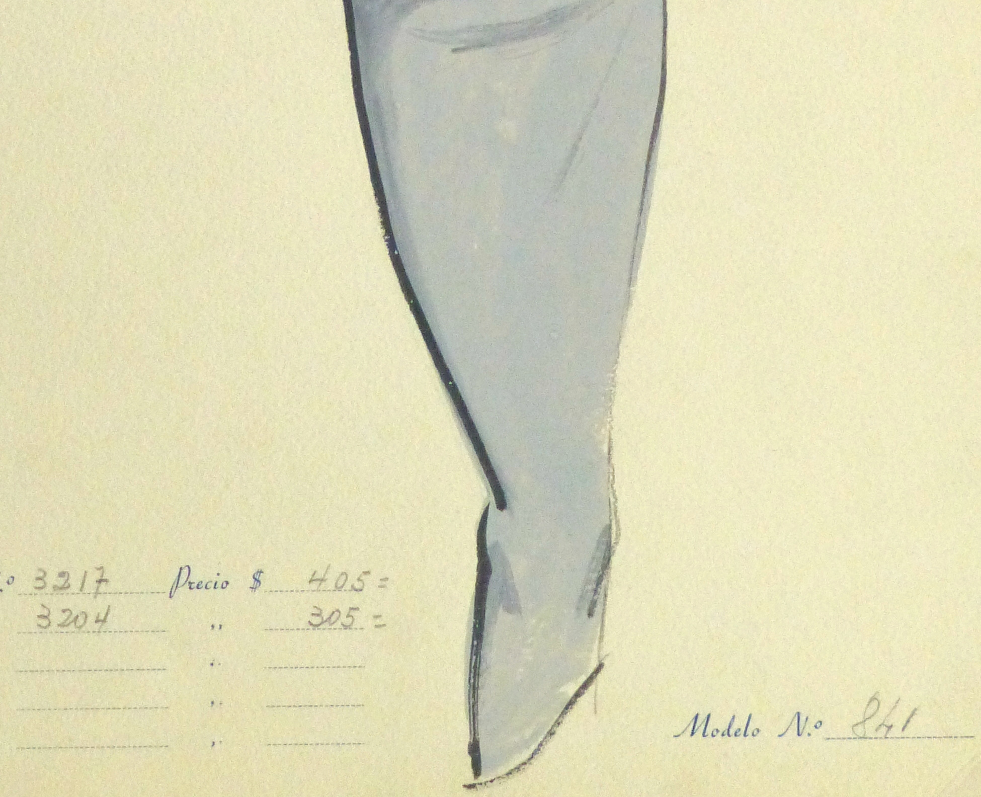 Gouache & Ink Fashion Sketch - Grey Dress Suit, Circa 1955-detail-10474M
