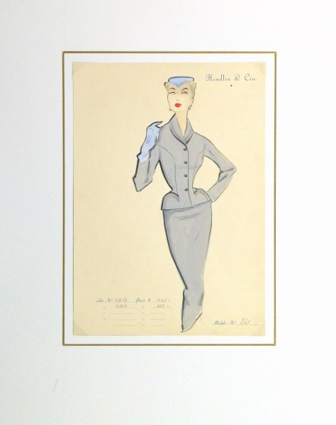 Gouache & Ink Fashion Sketch - Grey Dress Suit, Circa 1955-matted-10474M