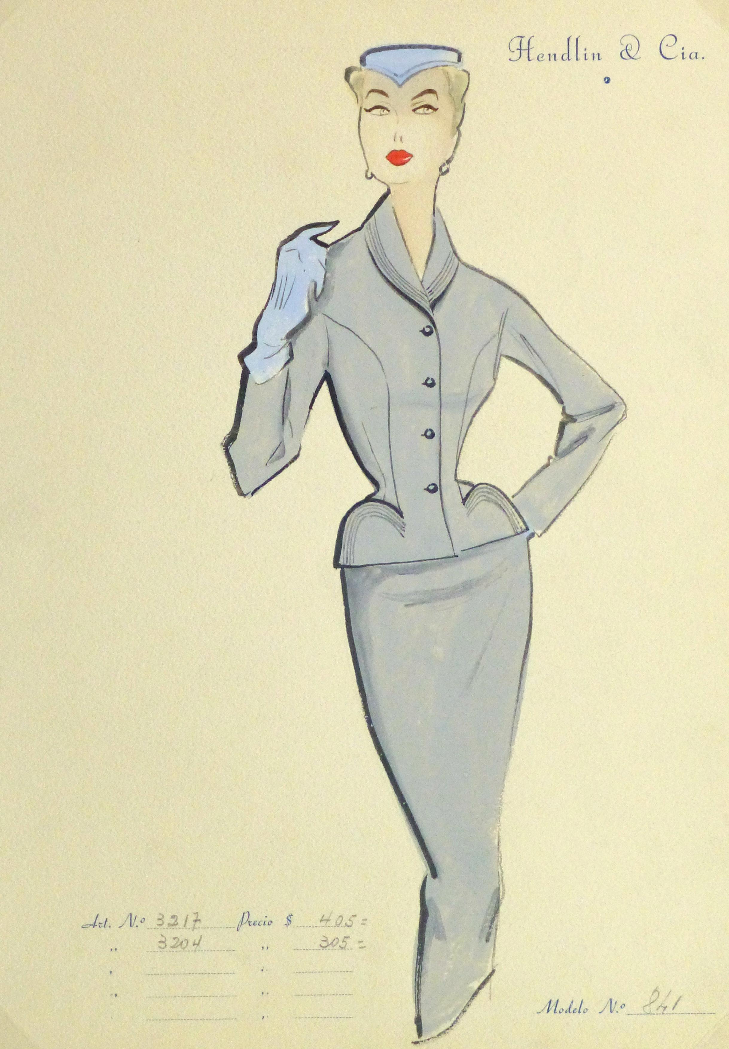 Gouache & Ink Fashion Sketch - Grey Dress Suit, Circa 1955-main-10474M