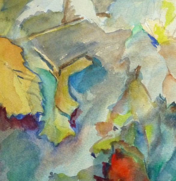 Watercolor- Among the Leaves, Circa 1950-detail 2-10475M