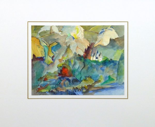 Watercolor- Among the Leaves, Circa 1950-matted-10475M