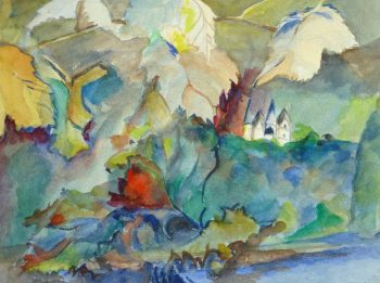 Watercolor- Among the Leaves, Circa 1950-main-10475M