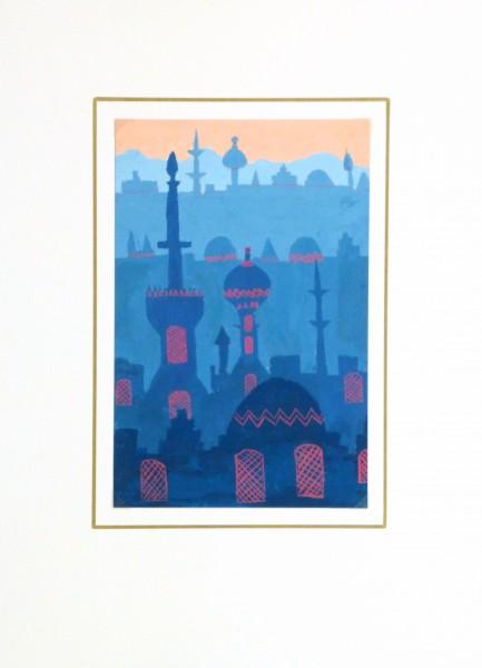 Acrylic- Orient Skyline, Circa 1970-matted-10476M