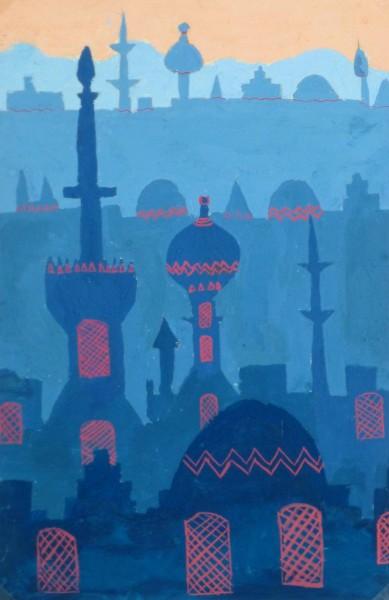 Acrylic- Orient Skyline, Circa 1970-main-10476M