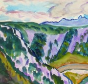 Watercolor Landscape - Provence Valley, Circa 1950-detail 2-10493M