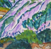 Watercolor Landscape - Provence Valley, Circa 1950-detail-10493M