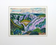 Watercolor Landscape - Provence Valley, Circa 1950-matted-10493M