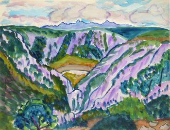 Watercolor Landscape - Provence Valley, Circa 1950-main-10493M