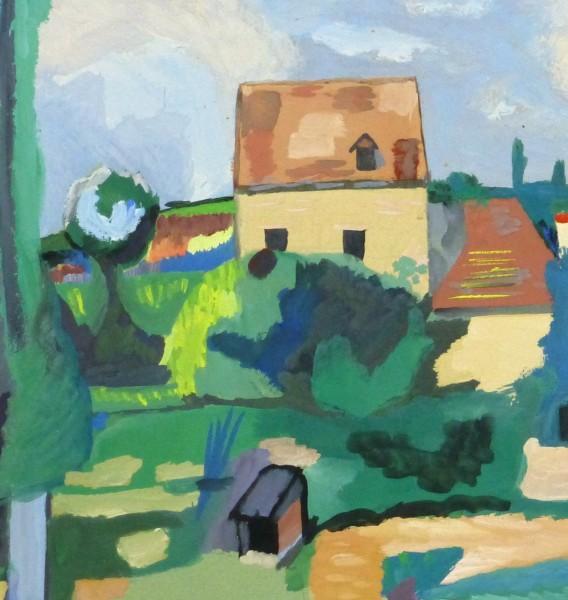 Gouache Landscape - Pastoral Village, Circa 1930-detail 2-10494M