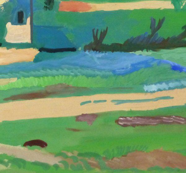 Gouache Landscape - Pastoral Village, Circa 1930-detail-10494M