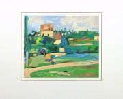 Gouache Landscape - Pastoral Village, Circa 1930-matted-10494M