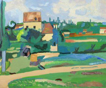 Gouache Landscape - Pastoral Village, Circa 1930-main-10494M