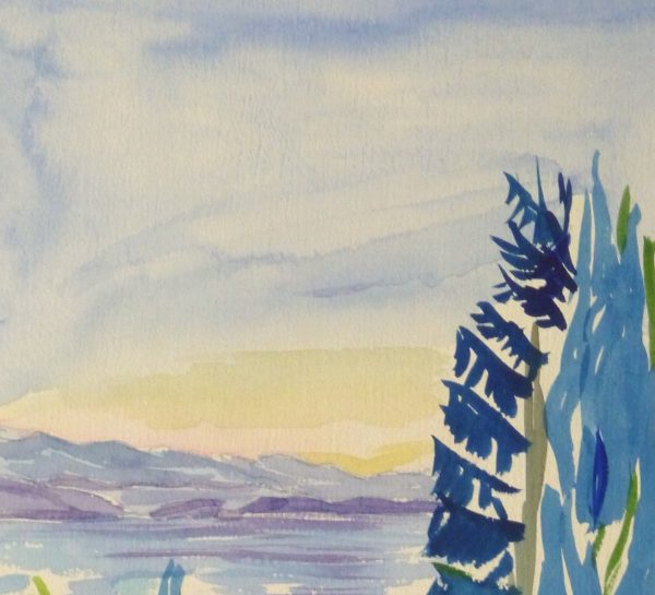 Watercolor Landscape - Waterfront Courtyard, Circa 1960-detail 2-10495M