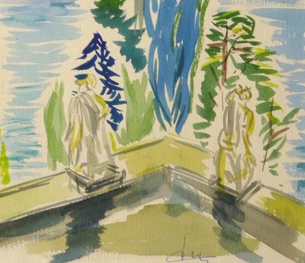 Watercolor Landscape - Waterfront Courtyard, Circa 1960-detail-10495M
