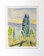 Watercolor Landscape - Waterfront Courtyard, Circa 1960-matted-10495M