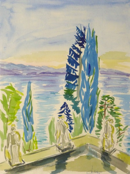 Watercolor Landscape - Waterfront Courtyard, Circa 1960-main-10495M