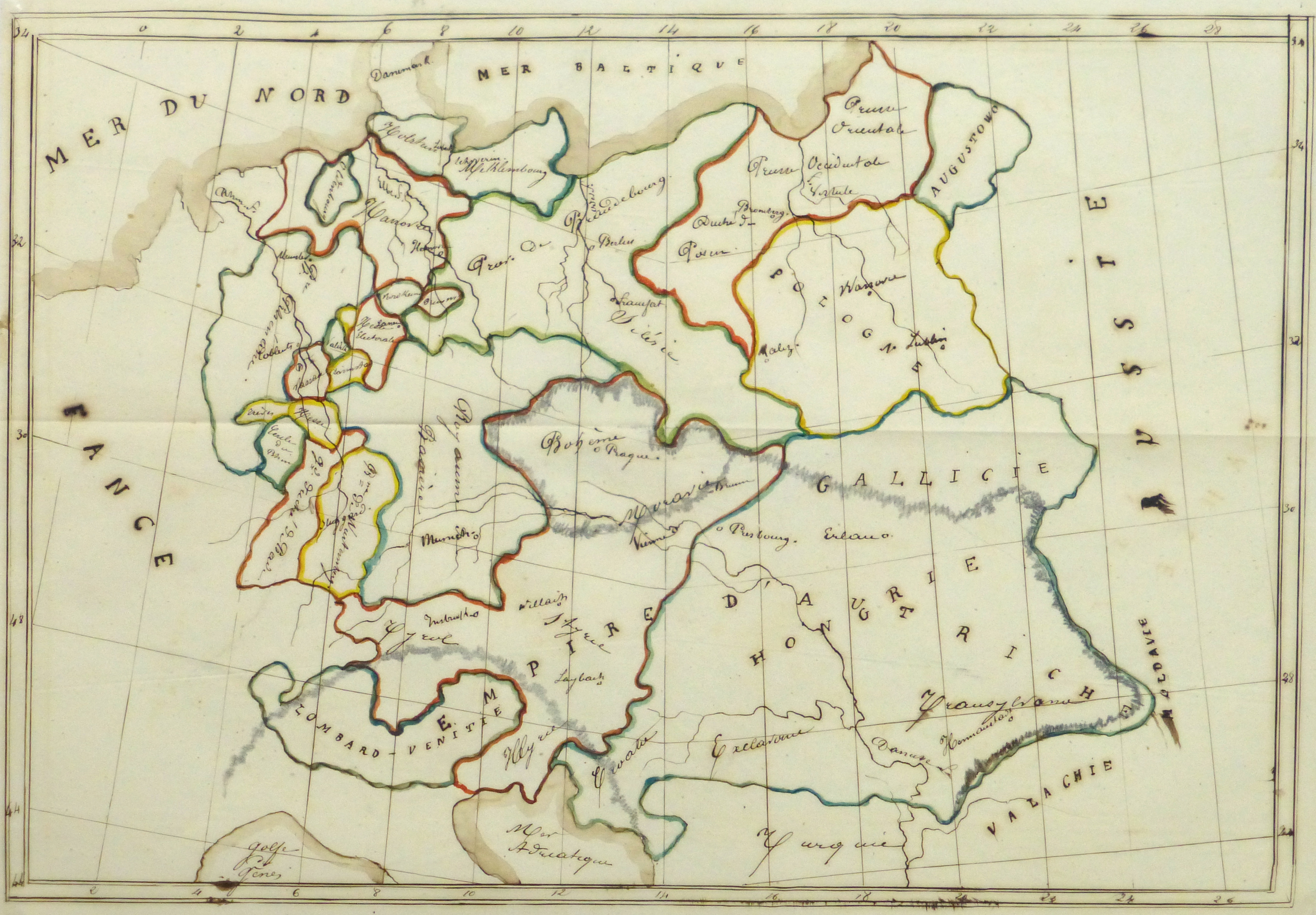Map of Central Europe, 1856 - Original Art, Antique Maps & Prints