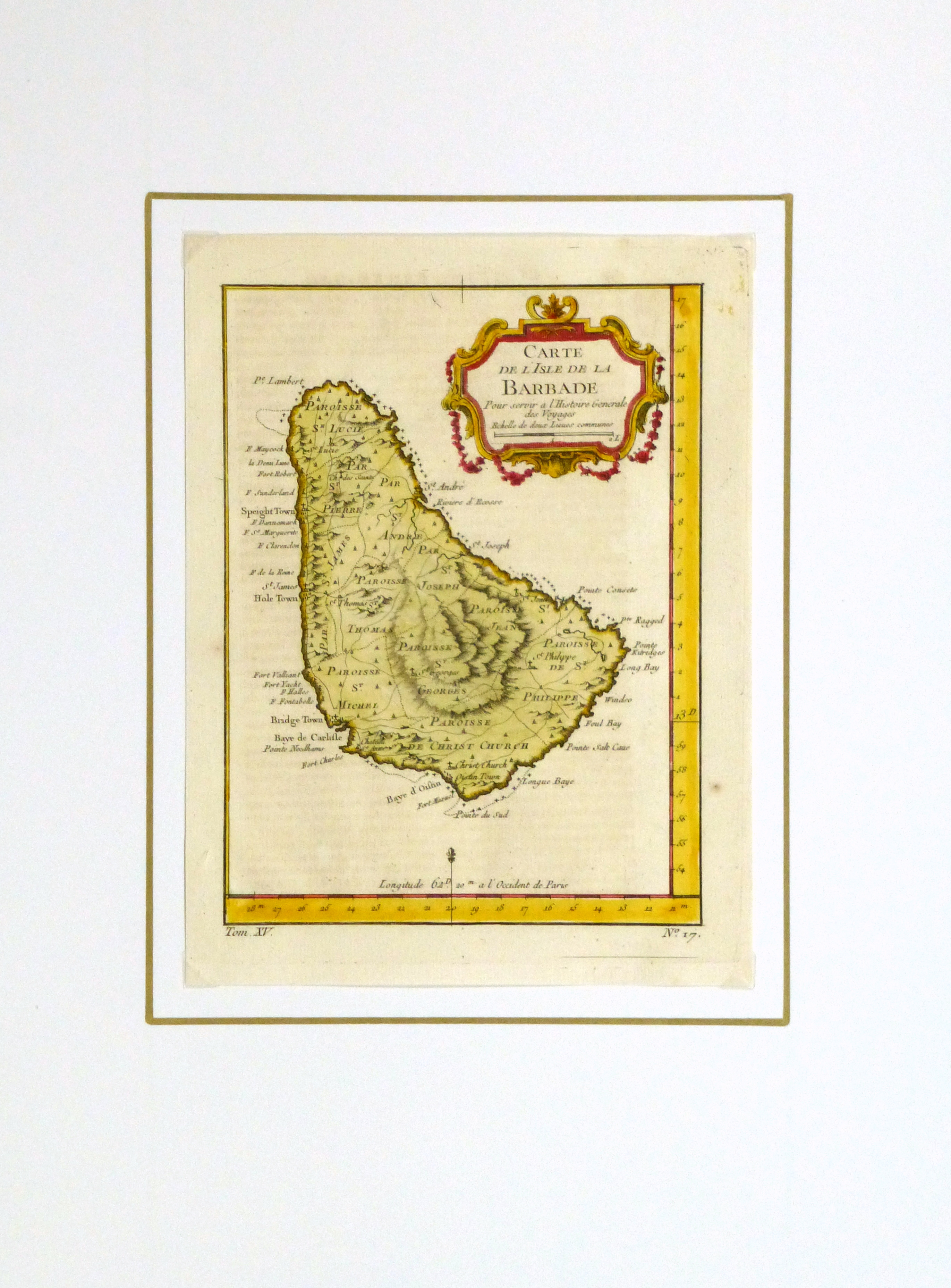 Map of Barbados, -matted-10502M