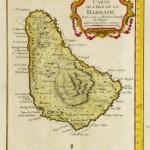 Barbados Caribe tropical Mapa Vintage ad Enmarcado Art Print 9x7 pulgadas