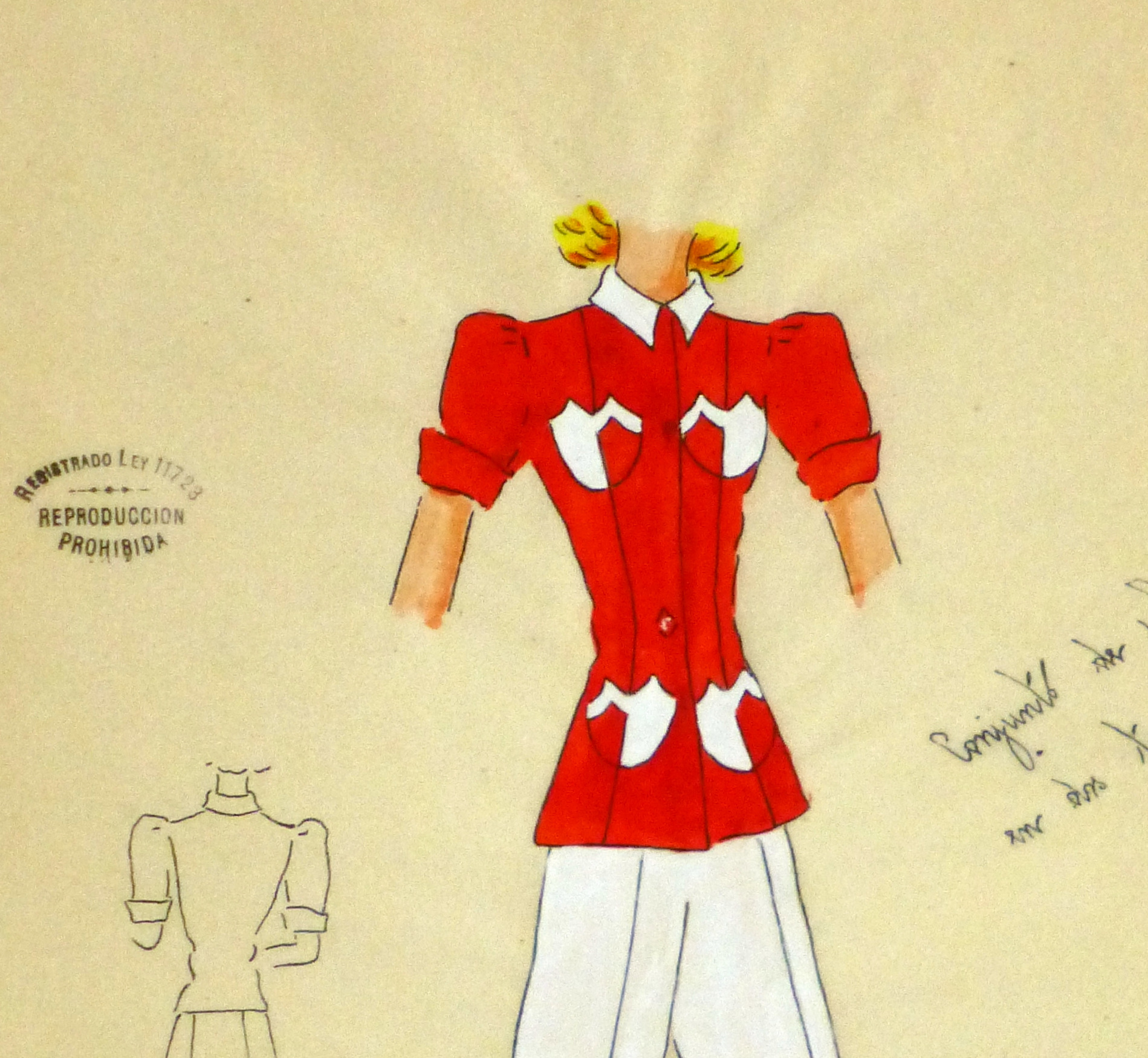 Gouache & Ink Fashion Sketch - Red Pocket Blouse, Circa 1950-detail 2-10503M