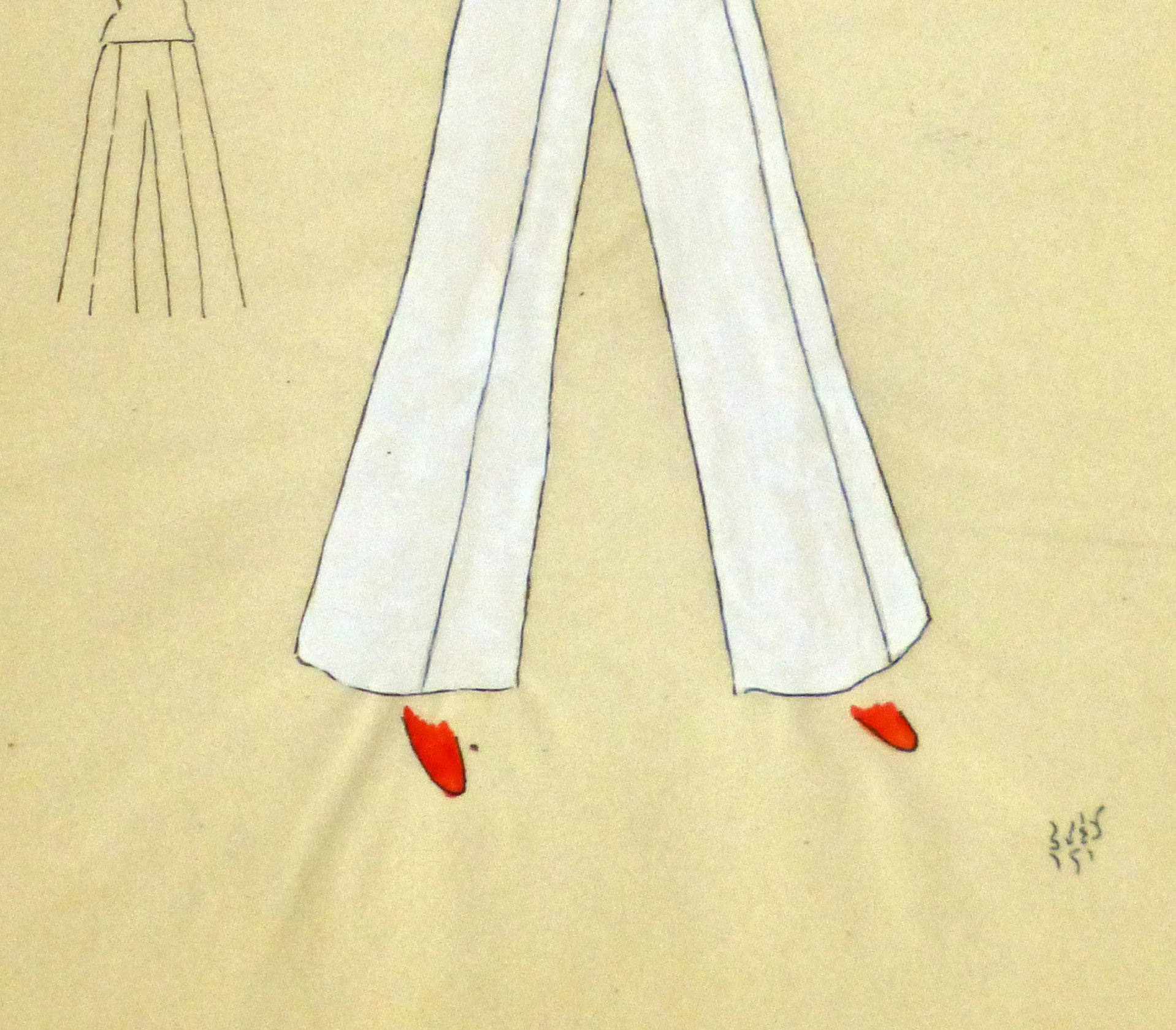 Gouache & Ink Fashion Sketch - Red Pocket Blouse, Circa 1950-detail-10503M