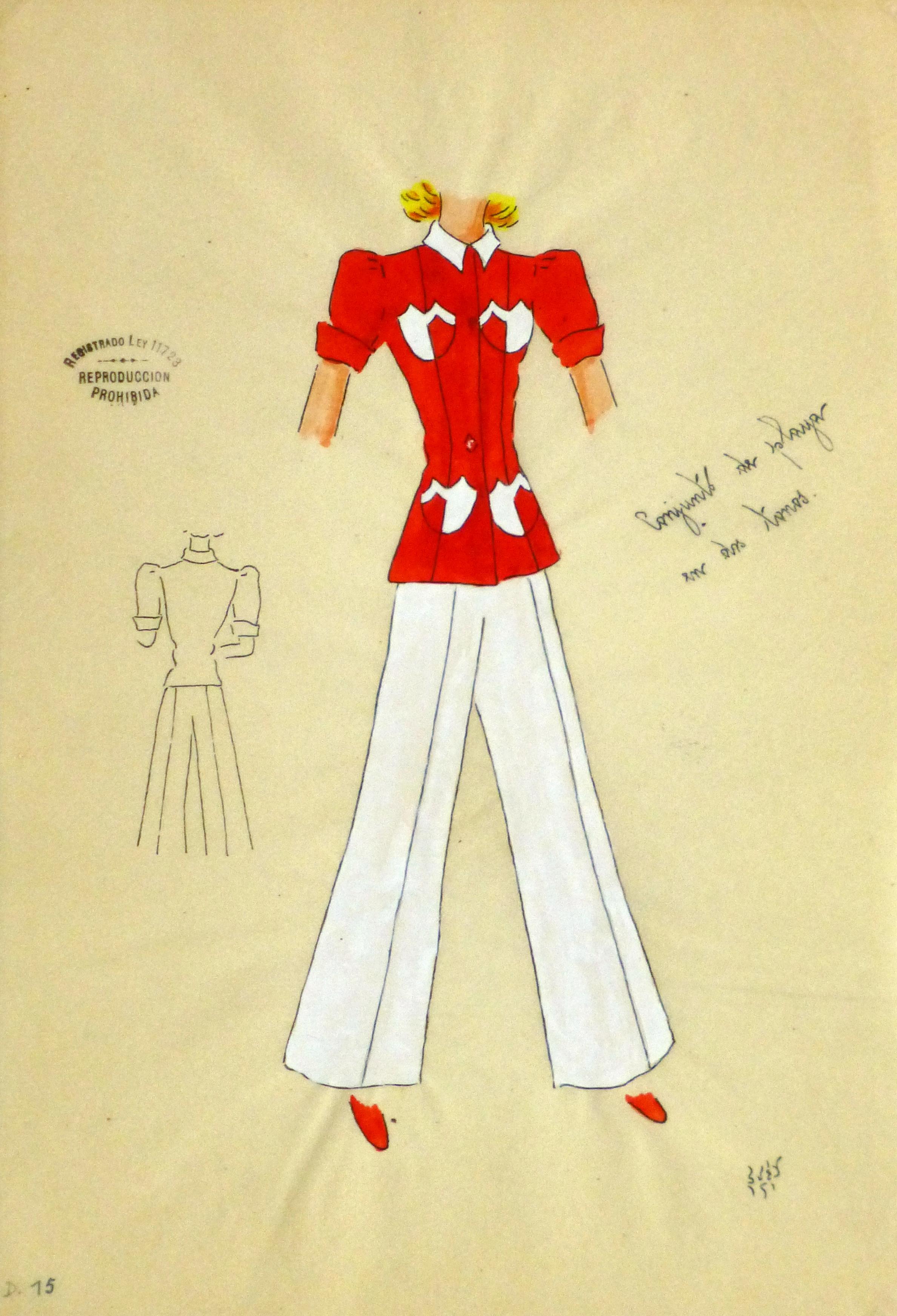 Gouache & Ink Fashion Sketch - Red Pocket Blouse, Circa 1950-main-10503M