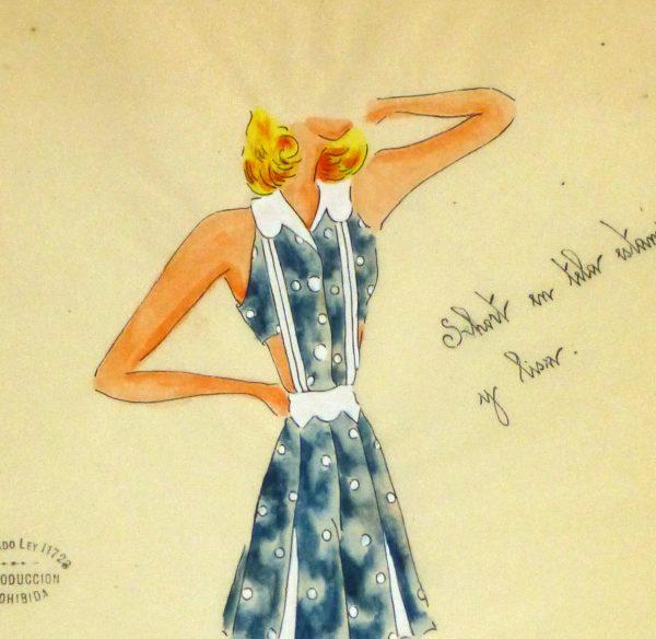 Gouache & Ink Fashion Sketch - Blue Sun Dress, Circa 1950-detail 2-10504M