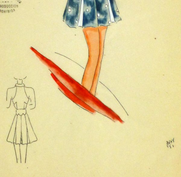 Gouache & Ink Fashion Sketch - Blue Sun Dress, Circa 1950-detail-10504M