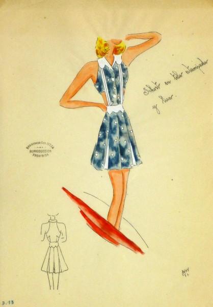 Gouache & Ink Fashion Sketch - Blue Sun Dress, Circa 1950-main-10504M