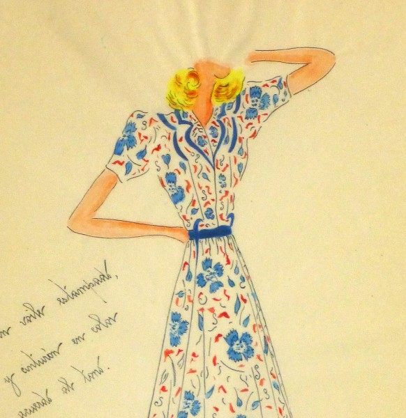 Gouache & Ink Fashion Sketch - Floral Day Dress, Circa 1950-detail 2-10505M