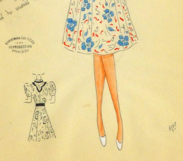 Gouache & Ink Fashion Sketch - Floral Day Dress, Circa 1950-detail-10505M
